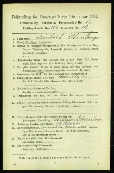 Image from object titled Folketelling 1891 - Kristiania - personsedler - side 60240