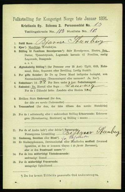 Image from object titled Folketelling 1891 - Kristiania - personsedler - side 60241