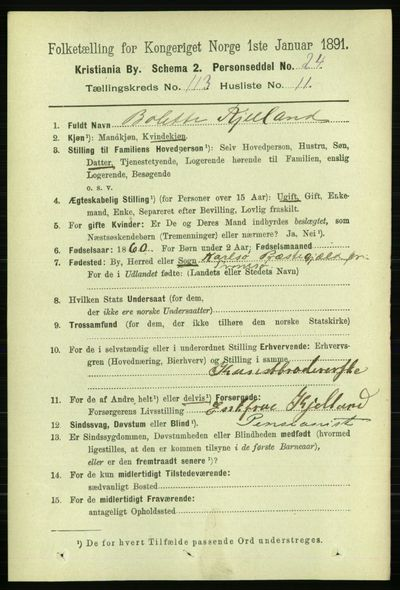 Image from object titled Folketelling 1891 - Kristiania - personsedler - side 60299