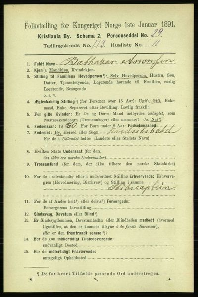 Image from object titled Folketelling 1891 - Kristiania - personsedler - side 60304