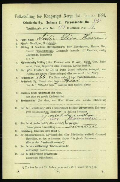 Image from object titled Folketelling 1891 - Kristiania - personsedler - side 60330