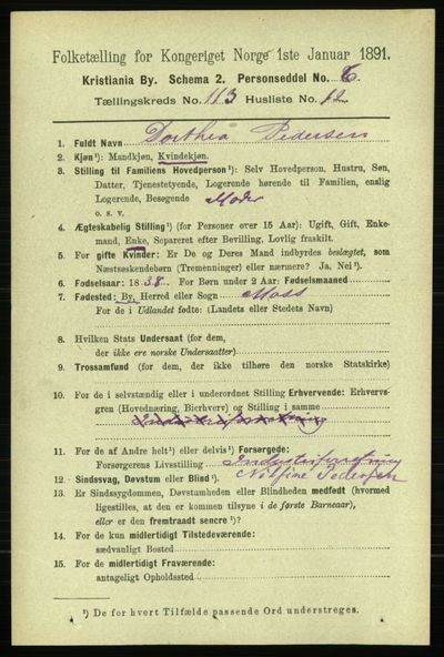 Image from object titled Folketelling 1891 - Kristiania - personsedler - side 60348