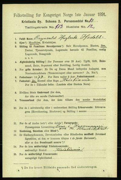 Image from object titled Folketelling 1891 - Kristiania - personsedler - side 60355