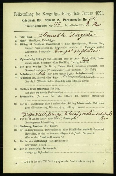 Image from object titled Folketelling 1891 - Kristiania - personsedler - side 60831