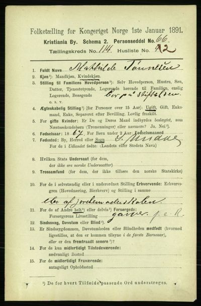 Image from object titled Folketelling 1891 - Kristiania - personsedler - side 60837