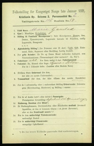 Image from object titled Folketelling 1891 - Kristiania - personsedler - side 62339
