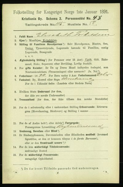 Image from object titled Folketelling 1891 - Kristiania - personsedler - side 62385