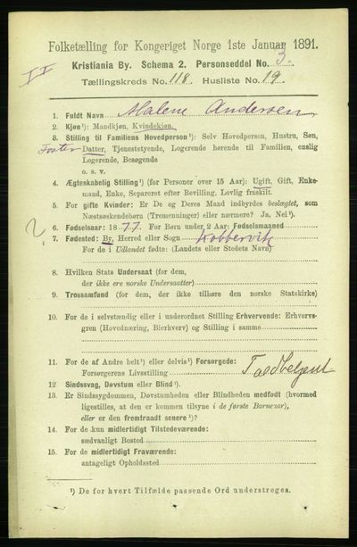 Image from object titled Folketelling 1891 - Kristiania - personsedler - side 63484