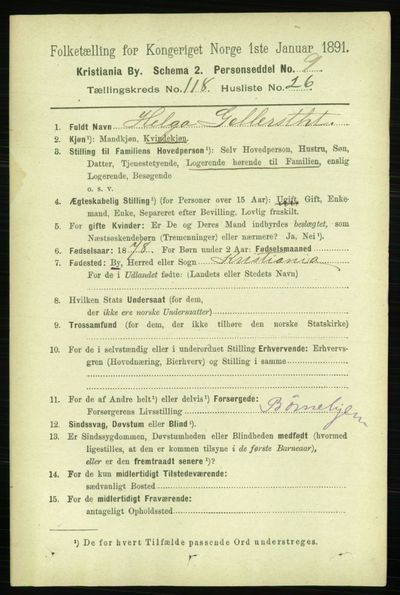 Image from object titled Folketelling 1891 - Kristiania - personsedler - side 63661