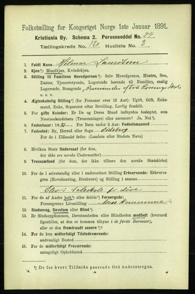 Image from object titled Folketelling 1891 - Kristiania - personsedler - side 64026