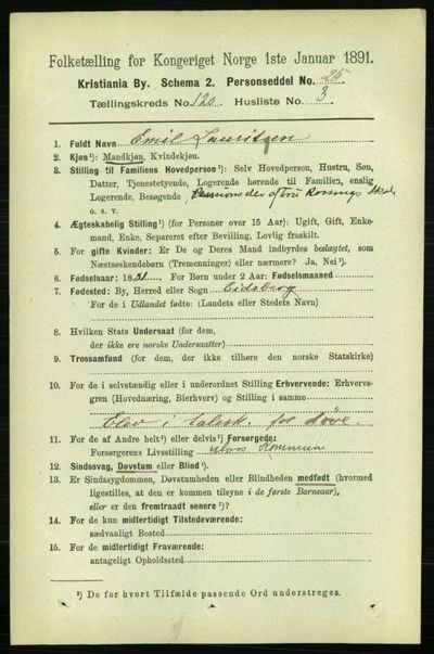 Image from object titled Folketelling 1891 - Kristiania - personsedler - side 64027
