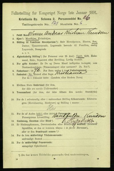 Image from object titled Folketelling 1891 - Kristiania - personsedler - side 64466