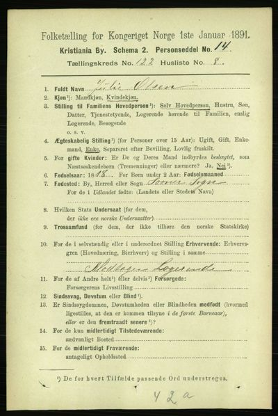 Image from object titled Folketelling 1891 - Kristiania - personsedler - side 64951
