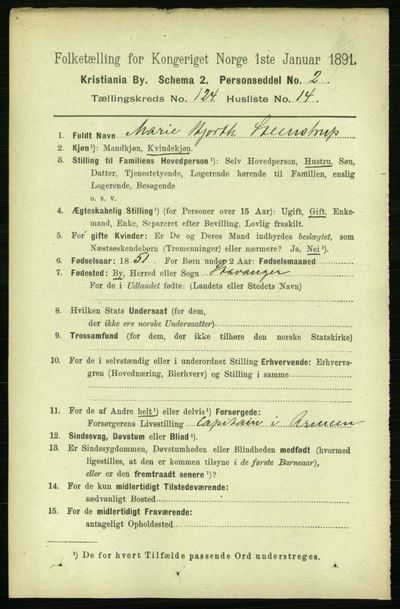 Image from object titled Folketelling 1891 - Kristiania - personsedler - side 65433