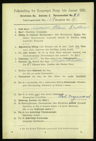 Image from object titled Folketelling 1891 - Kristiania - personsedler - side 65909