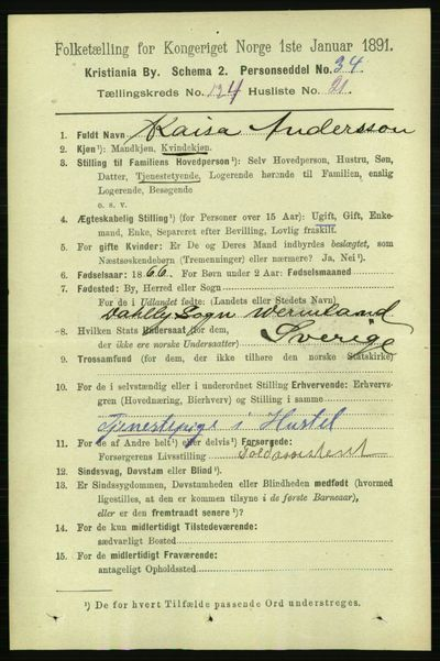 Image from object titled Folketelling 1891 - Kristiania - personsedler - side 65923