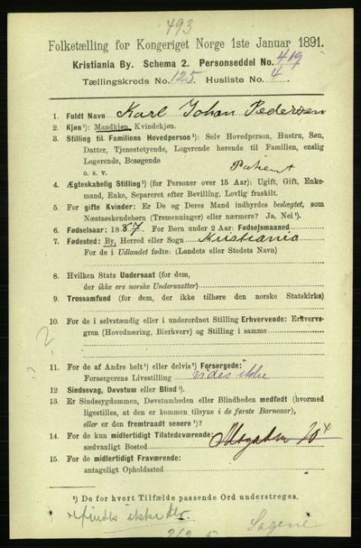 Image from object titled Folketelling 1891 - Kristiania - personsedler - side 66857