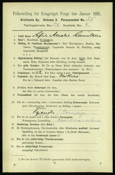 Image from object titled Folketelling 1891 - Kristiania - personsedler - side 67316