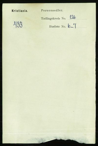 Image from object titled Folketelling 1891 - Kristiania - personsedler - side 67342