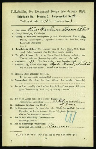 Image from object titled Folketelling 1891 - Kristiania - personsedler - side 67957