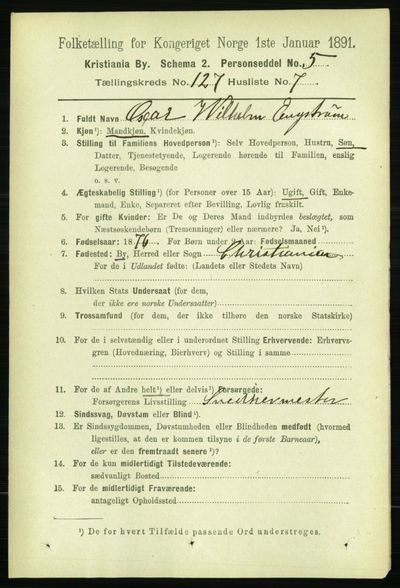 Image from object titled Folketelling 1891 - Kristiania - personsedler - side 68059