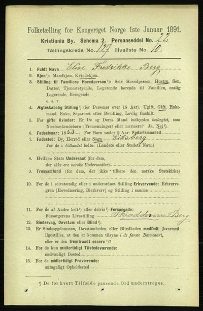 Image from object titled Folketelling 1891 - Kristiania - personsedler - side 68213