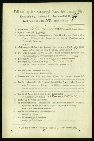 Image from object titled Folketelling 1891 - Kristiania - personsedler - side 68703