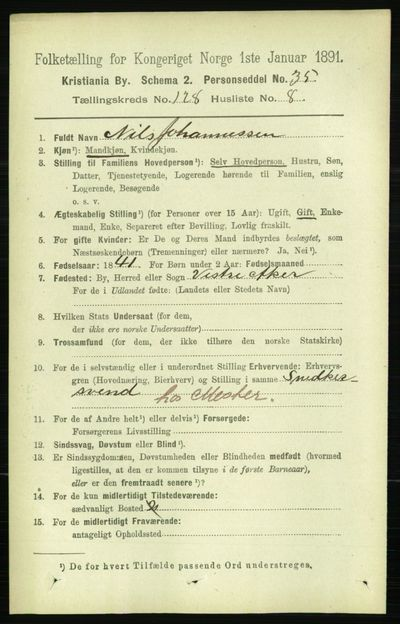Image from object titled Folketelling 1891 - Kristiania - personsedler - side 68813