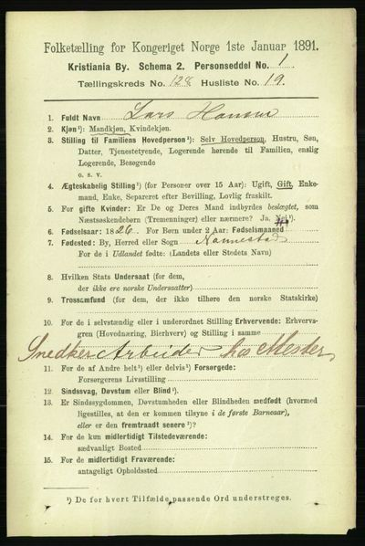 Image from object titled Folketelling 1891 - Kristiania - personsedler - side 69007
