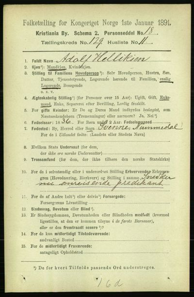 Image from object titled Folketelling 1891 - Kristiania - personsedler - side 69485