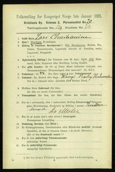 Image from object titled Folketelling 1891 - Kristiania - personsedler - side 69914