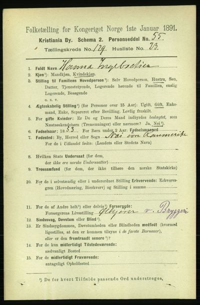 Image from object titled Folketelling 1891 - Kristiania - personsedler - side 69949