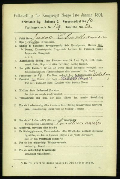 Image from object titled Folketelling 1891 - Kristiania - personsedler - side 69964