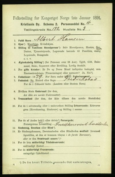 Image from object titled Folketelling 1891 - Kristiania - personsedler - side 71574