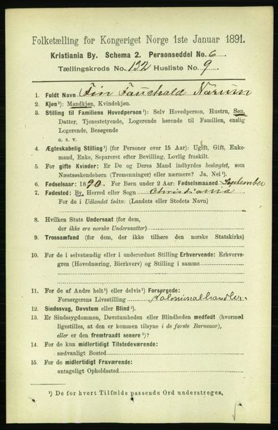 Image from object titled Folketelling 1891 - Kristiania - personsedler - side 71656