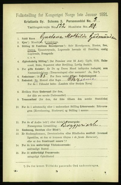 Image from object titled Folketelling 1891 - Kristiania - personsedler - side 71731