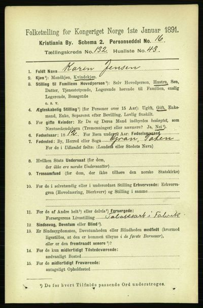 Image from object titled Folketelling 1891 - Kristiania - personsedler - side 72065