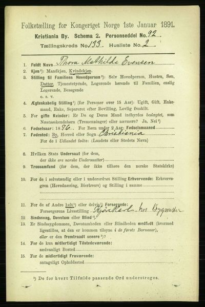 Image from object titled Folketelling 1891 - Kristiania - personsedler - side 72545