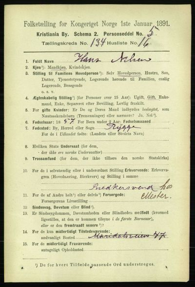 Image from object titled Folketelling 1891 - Kristiania - personsedler - side 73732