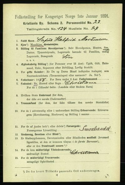 Image from object titled Folketelling 1891 - Kristiania - personsedler - side 74076