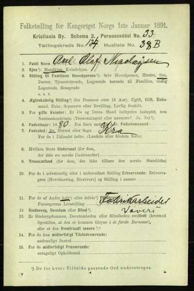 Image from object titled Folketelling 1891 - Kristiania - personsedler - side 74313