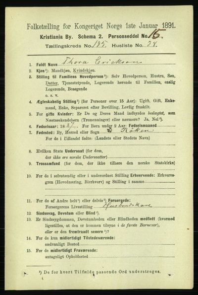 Image from object titled Folketelling 1891 - Kristiania - personsedler - side 75038