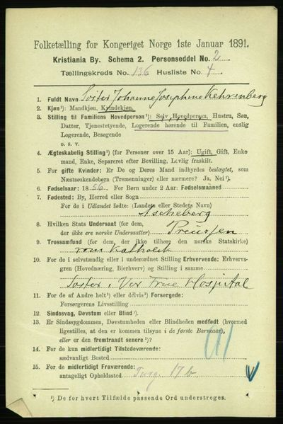 Image from object titled Folketelling 1891 - Kristiania - personsedler - side 75349