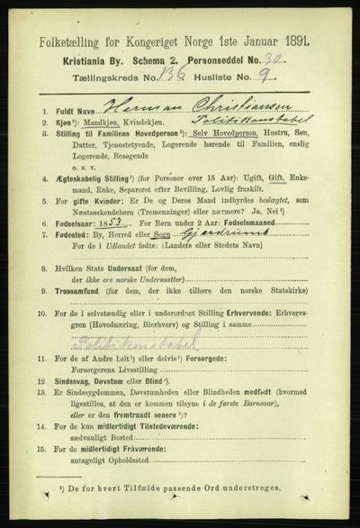 Image from object titled Folketelling 1891 - Kristiania - personsedler - side 75500