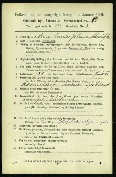 Image from object titled Folketelling 1891 - Kristiania - personsedler - side 77142