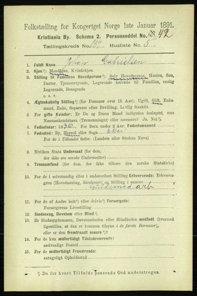 Image from object titled Folketelling 1891 - Kristiania - personsedler - side 77249