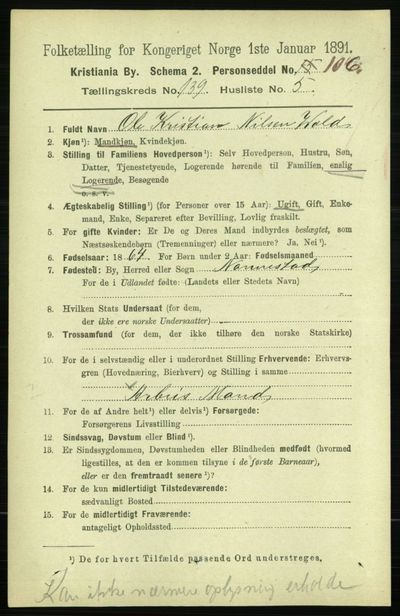 Image from object titled Folketelling 1891 - Kristiania - personsedler - side 77313