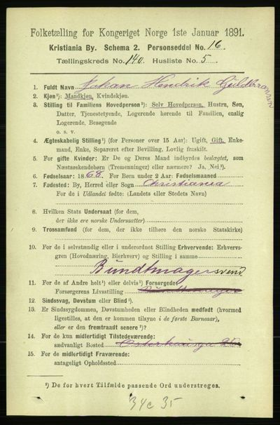 Image from object titled Folketelling 1891 - Kristiania - personsedler - side 77686