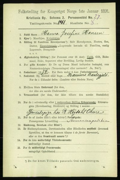 Image from object titled Folketelling 1891 - Kristiania - personsedler - side 78266