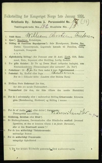 Image from object titled Folketelling 1891 - Kristiania - personsedler - side 78360